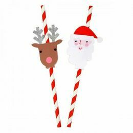 24 Christmas Straws and Toppers