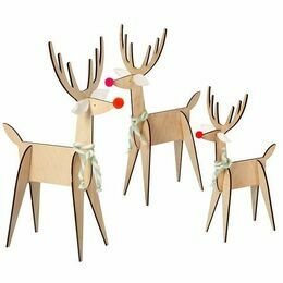 3 Wooden Reindeer Decorations