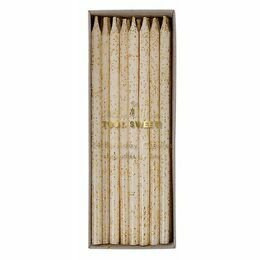 Gold Glitter White Birthday Candles