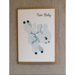Lamb Riso Baby Card - Teal