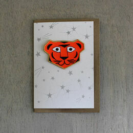 Embroidered Tiger Patch Card