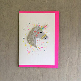 Embroidered Unicorn Head  Patch Card