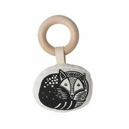 Wee Gallery Rattle with Wooden Ring - Fox