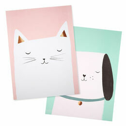 Cat & Dog Set of 2 Art Prints