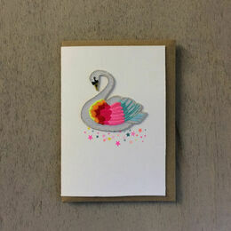 Embroidered Iron-on Patch Greeting Card - Rainbow Swan