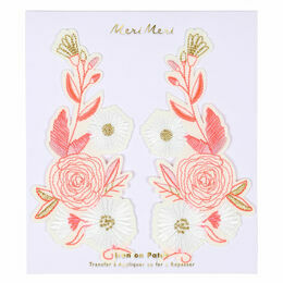 Pink Floral Iron-on Patches
