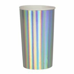 Meri Meri Silver Holographic Highball Party Cups