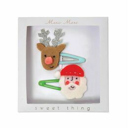 Meri Meri Santa and Reindeer Hairslides