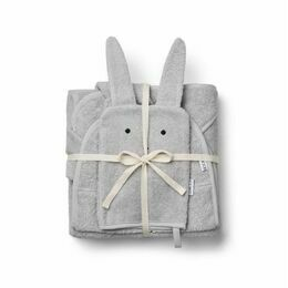 Adele Terry Towelling Baby Set - Rabbit Grey