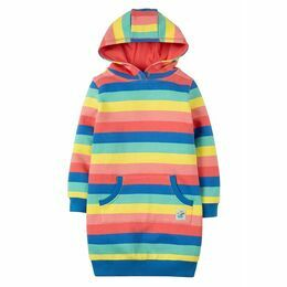 Harriet Hoody Dress - Bright Rainbow Stripe