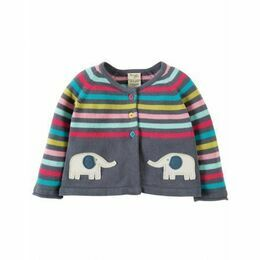 Suzy Swing Cotton Cardigan - Stripe Elephant