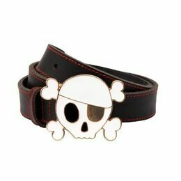 Leather Belt with Enamel Skull Buckle