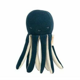 Organic Knitted Cotton Baby Rattle - Octopus