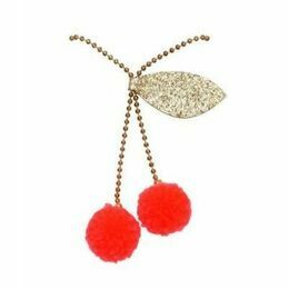 Cherry Pom Pom Necklace