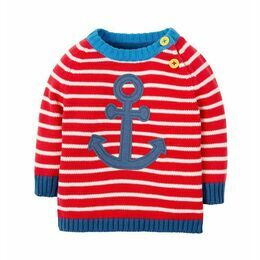 Little Finn Knitted Jumper - Tomato Stripe / Anchor