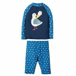 Sun Safe Set - Marine Blue Polka Dot / Seagull