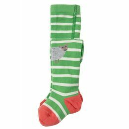 Little Fun Knee Tights - Soft Green Stripe / Sheep