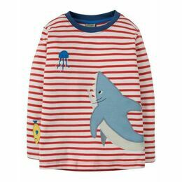 Joe Applique Top - Tomato Breton / Shark