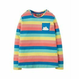 Louise Stripe Top - Rainbow Stripe / Cloud