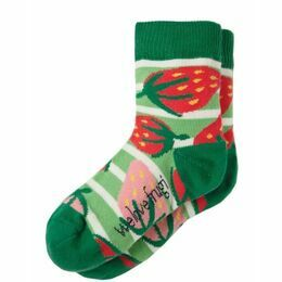 Perfect Pair of Socks - Green Stripe Strawberries