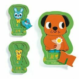 Djeco 3 Layer Wooden Animal Puzzle - Charly & Co