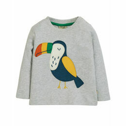 Little Discovery Applique Top, Grey Marl/Toucan