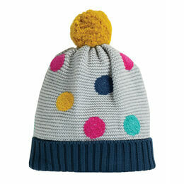 Frugi Evie Embroidered Bobble Hat - Grey Marl/Multi Spot