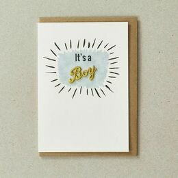 Embroidered New Baby Card - It's a Boy