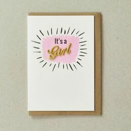 Embroidered New Baby Card - It's a Girl