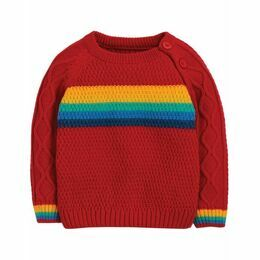Caleb Cable Knit Rainbow Jumper - Tango Red