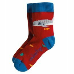 Frugi Whale Shark Printed Socks - Tango Red