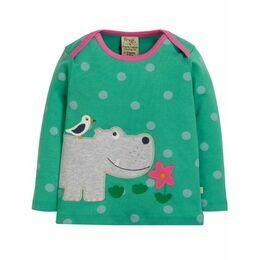 Frugi Bobby Applique Hippo Top - Blue Polka Dot