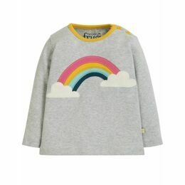 Frugi Button Applique Rainbow Top - Grey Marl