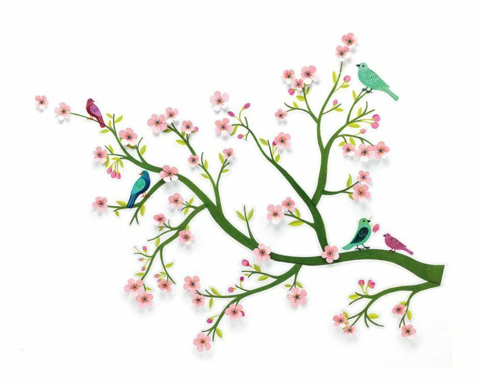 djeco removable 3d wall stickers - cherry tree in bloom only £11.87