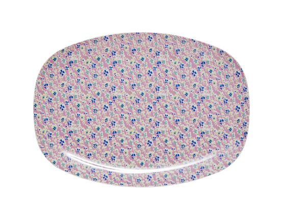 Rice Melamine Rectangle  Plate - Cascading Flower