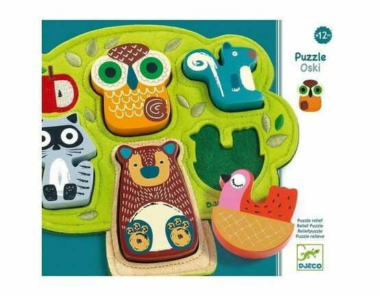 Djeco Oski Animals Wooden & Felt Relief Puzzle