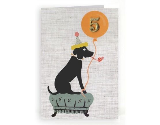 Petra Boase Age 5 Embroidered Birthday Card - Dog