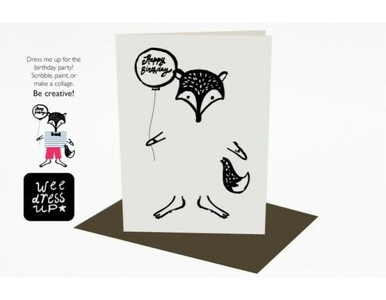 Wee Gallery Colour in Dress-up Greeting Card - Fox