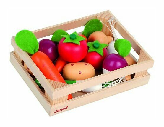 Janod 12 Wooden Vegetables in a Crate