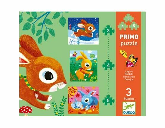 Djeco Primo Set of 3 Jigsaw Puzzles - Rabbits