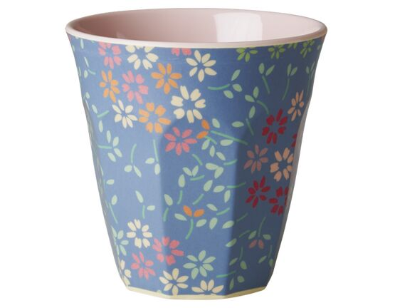 Rice Melamine Two Tone Medium Cup - Wild Flower Print