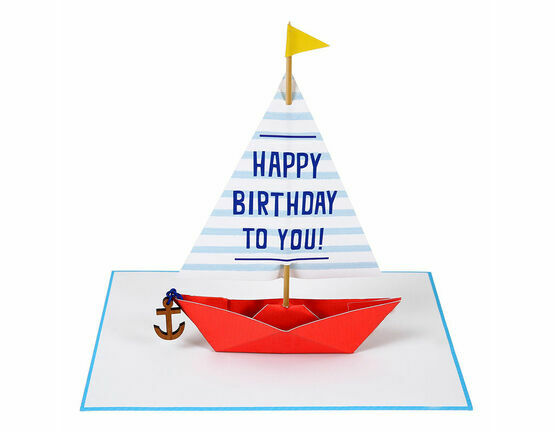 Meri Meri Sailing Boat with Wooden Anchor 3D Greeting Card