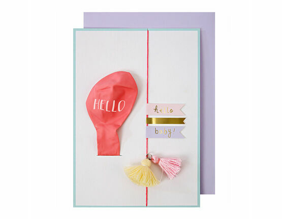 Meri Meri Hello Pink Balloon Baby Card