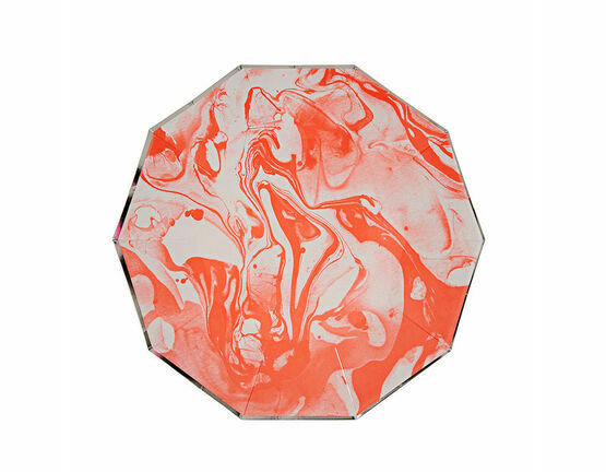 Meri Meri Marble Neon Orange Pattern Small Plate