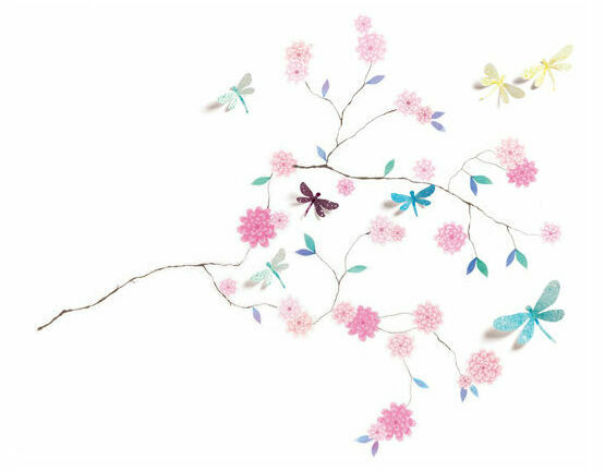 Djeco Removable 3D Wall Stickers - Dragonflies Tree