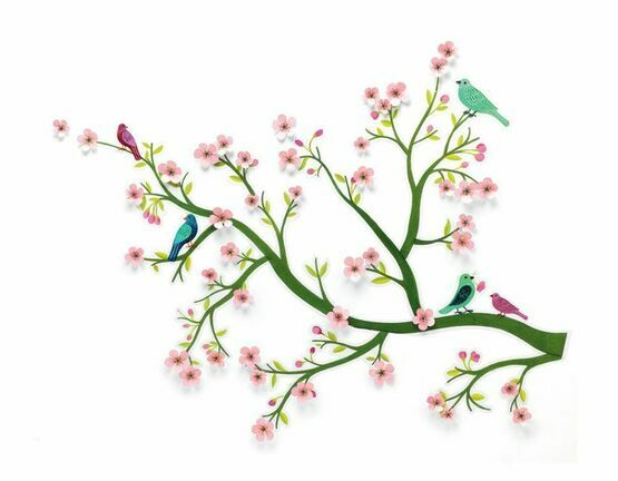 Djeco Removable 3D Wall Stickers - Cherry Tree in Bloom