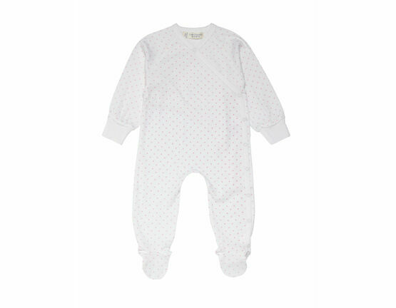 Renuka Baby Footed Wrap Growsuit - Tiny Pink Stars