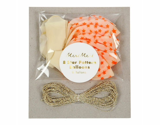Meri Meri Star Print Balloons - Neon Orange