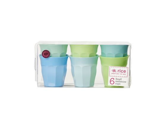 Rice Set of 6 Small Melamine Cups - Blue & Green