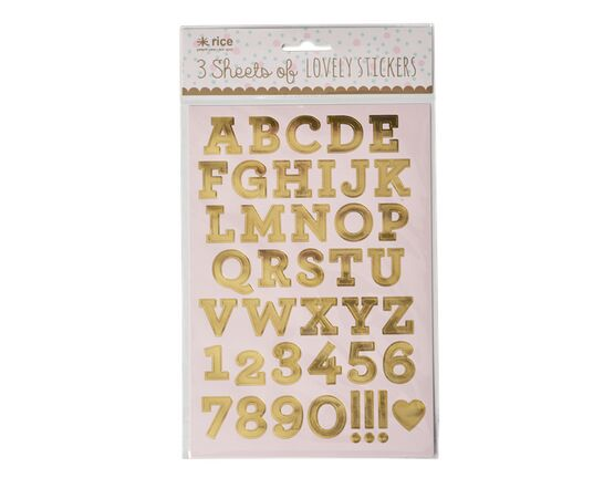 3 sheets of foil alphabet & number stickers - gold or fluoro pink